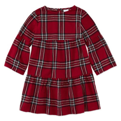 Peyton & Parker Long Sleeve Swing Dresses-Toddler Girls