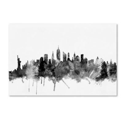 Trademark Fine Art Michael Tompsett New York CitySkyline B&W Giclee Canvas Art