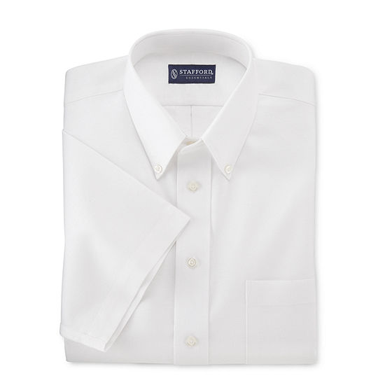 Stafford Travel Wrinkle-Free Oxford Mens Button Down Collar Short Sleeve Wrinkle Free Dress Shirt