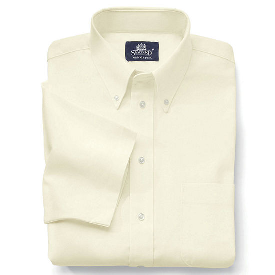 Stafford Mens Short Sleeve Wrinkle Free Oxford Big and Tall Dress Shirt
