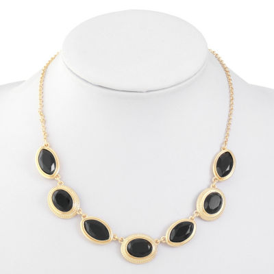Monet Jewelry Womens Black Collar Necklace