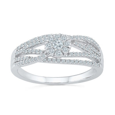 Promise My Love Womens 1/3 CT. T.W. Round White Diamond 10K Gold Promise Ring