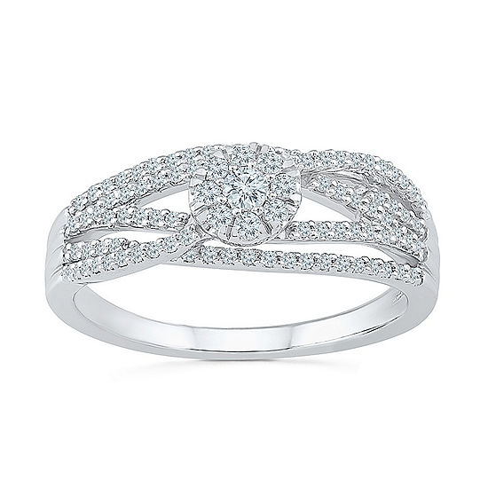Promise My Love Womens 1/3 CT. T.W. Genuine White Diamond 10K White Gold Promise Ring