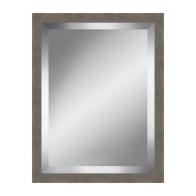 Grey Brown Grain Beveled Plate Mirror