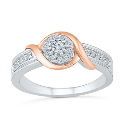 Promise My Love Womens 1/4 CT. T.W. White Diamond 10K Rose Gold Over Silver Sterling Silver Promise Ring