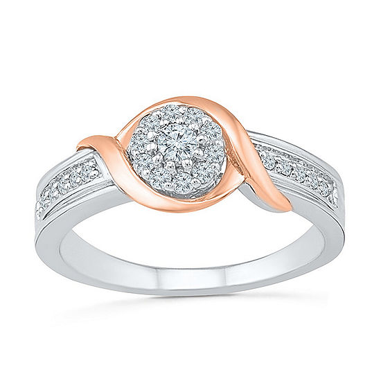 Promise My Love Womens 1/4 CT. T.W. Genuine White Diamond 10K Rose Gold Over Silver Sterling Silver Promise Ring