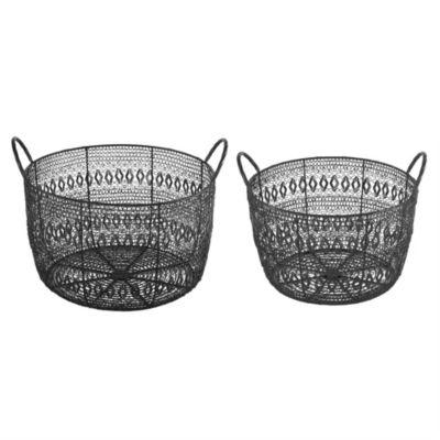 Madison Park Floret Woven Metal Basket Set Of 2