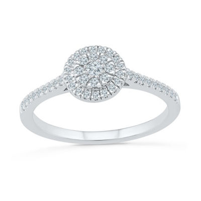 Promise My Love Womens 1/4 CT. T.W. White Diamond Sterling Silver Promise Ring