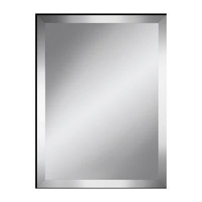 Modern Black Beveled Plate Mirror