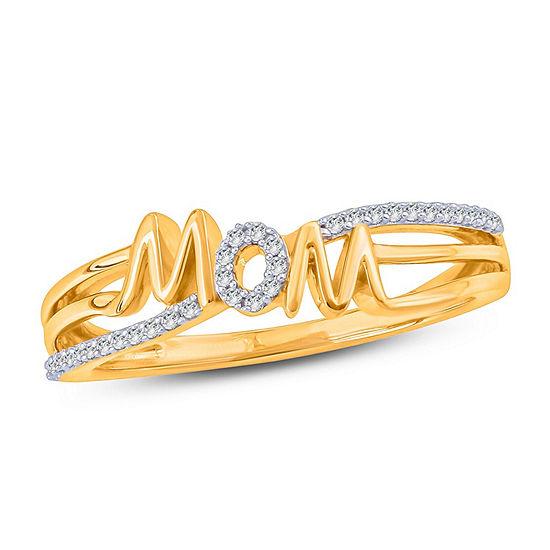 Womens 1/10 CT. T.W. Genuine White Diamond 10K Gold Cocktail Ring