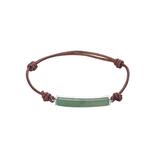 Footnotes Green Silver Tone Pure Silver Over Brass Bolo Bracelet