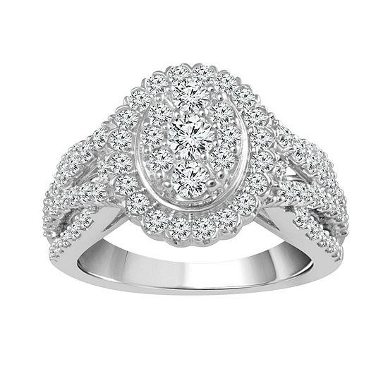 Womens 1 1/2 CT. T.W. Genuine White Diamond 14K White Gold Engagement Ring