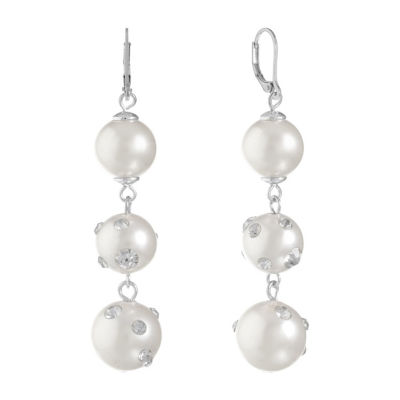 Monet Jewelry Clear SIMULATED PEARLS Drop Earrings