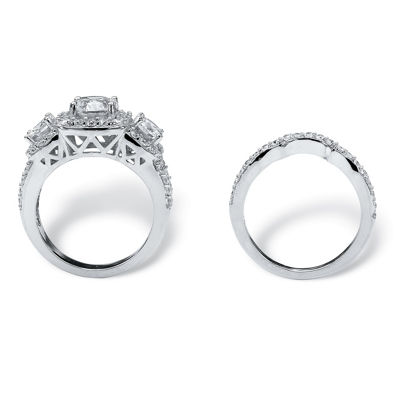 Diamonart Womens 3 3/4 CT. T.W. White Cubic Zirconia Platinum Over Silver Bridal Set