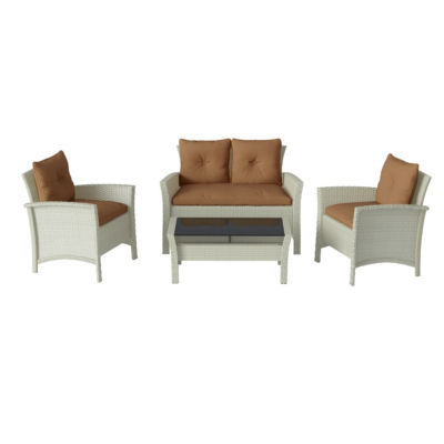 CorLiving Cascade 4pc Distressed Grey Resin Rattan Wicker Patio Set