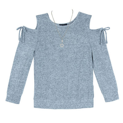by&by girl Crew Neck Long Sleeve Cold Shoulder Blouse Girls