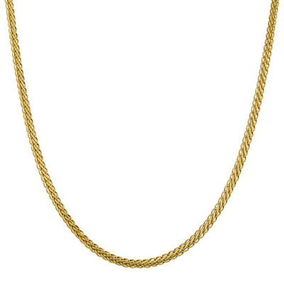 14K Gold 16 Inch Semisolid Wheat Chain Necklace