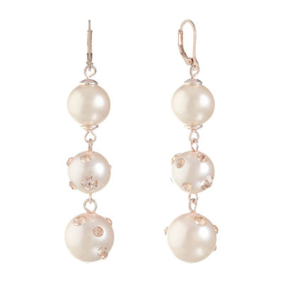 Monet Jewelry Pink Simulated Pearl Drop Earrings