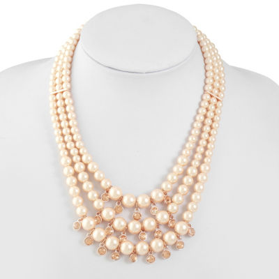 Monet Jewelry Womens Pink Simulated Pearl Strand Necklace
