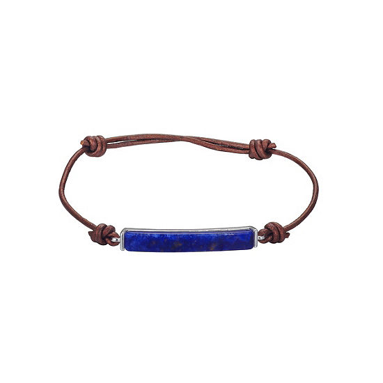 Footnotes Blue Silver Tone Pure Silver Over Brass Bolo Bracelet