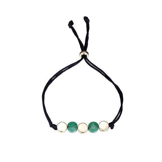 Footnotes Green Gold Tone Pure Silver Over Brass Bolo Bracelet