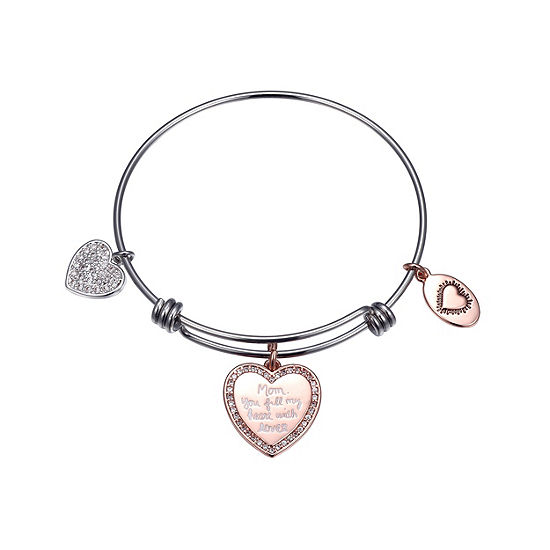 Footnotes Cubic Zirconia Pure Silver Over Brass Heart Bangle Bracelet