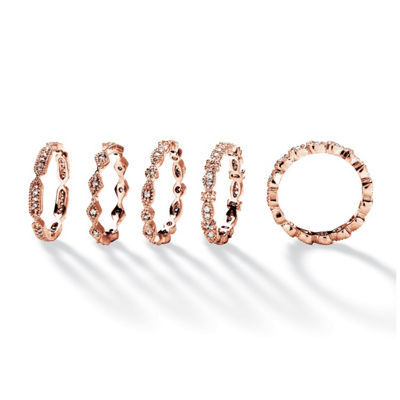 Womens 15mm 1 1/2 CT. T.W. White Cubic Zirconia 14k Rose Gold Over Brass Band