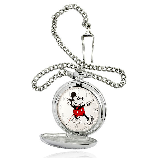 Disney Mickey Mouse Mens Silver Tone Pocket Watch-Wds000605