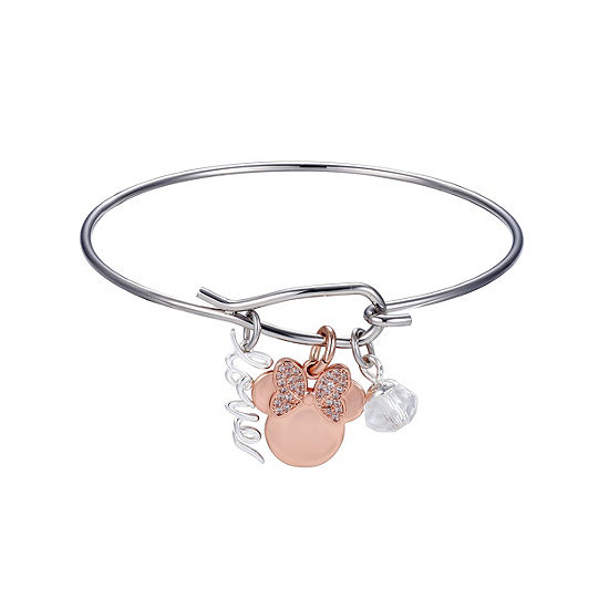 Pure Silver Over Brass Solid Minnie Mouse Bangle Bracelet