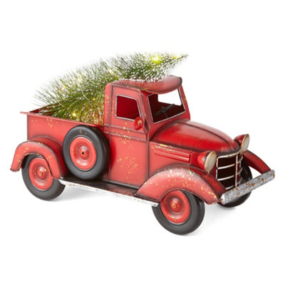 North Pole Trading Co. Winter Farmhouse Red Truck With Lights Tabletop Decor
