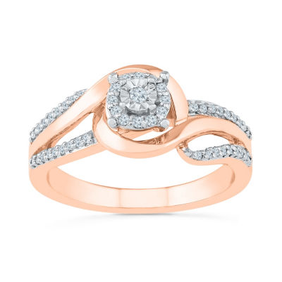 Promise My Love Womens 1/6 CT. T.W. Genuine White Diamond 10K Rose Gold Promise Ring