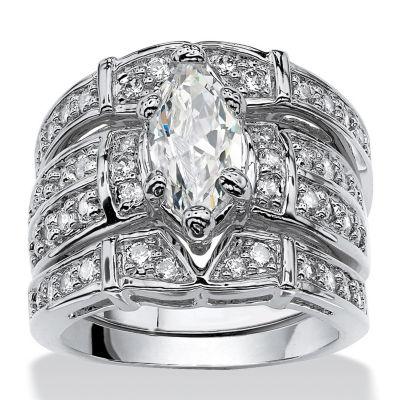 Diamonart Womens 3 CT. T.W. White Cubic Zirconia Silver Over Brass Bridal Set