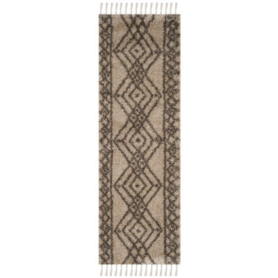 Safavieh Moroccan Fringe Shag Collection Anselmo Geometric Runner Rug