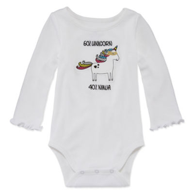 Okie Dokie Long Sleeve Graphic Bodysuit - Baby Girl NB-24M