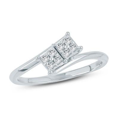 Womens 1/6 CT. T.W. White Diamond 10K Gold Cocktail Ring