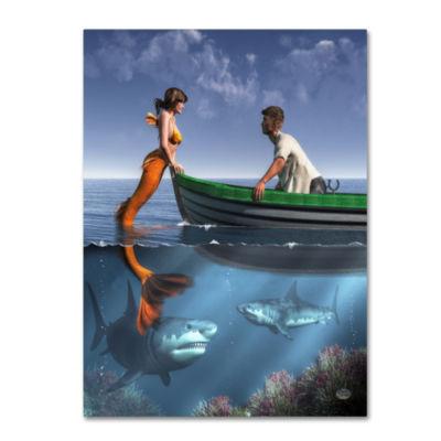 Trademark Fine Art Daniel Eskridge A Mermaid And Her Pets Giclee Canvas Art