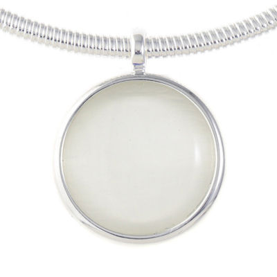 Liz Claiborne Womens White Round Pendant Necklace