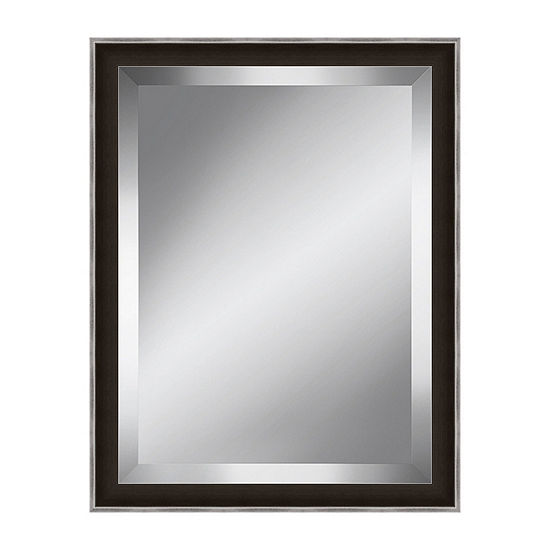 Dark Brown And Silver Beveled Plate Mirror