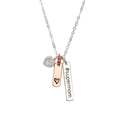 Footnotes She Rocks Womens Clear Crystal Silver Over Brass Pendant Necklace