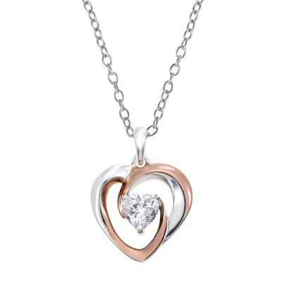 Footnotes Womens Lab Created Clear Cubic Zirconia Sterling Silver Heart Pendant Necklace