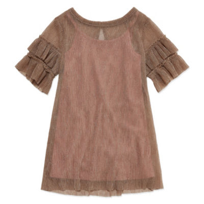Peyton & Parker Short Sleeve Shine Dresses-Toddler Girls