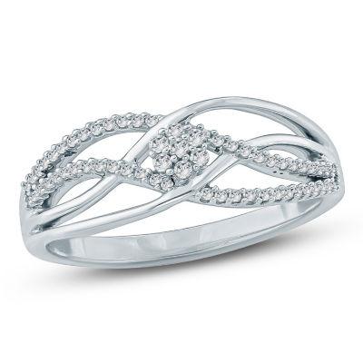 Womens 1/5 CT. T.W. White Diamond 10K Gold Cocktail Ring