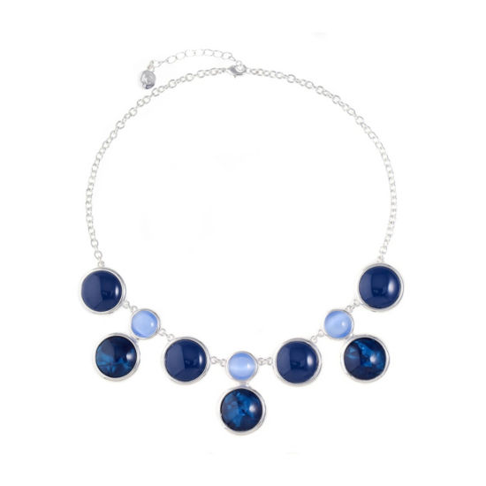 Liz Claiborne Womens Blue Round Statement Necklace
