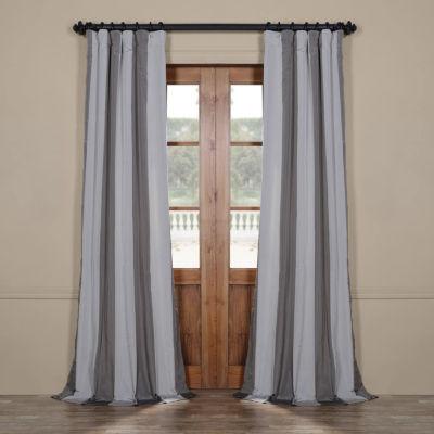 Exclusive Fabrics & Furnishing Hartford Faux Silk Stripe Rod-Pocket/ Back-Tab Curtain Panel