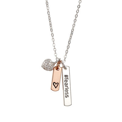 Footnotes She Rocks Womens Clear Crystal Pure Silver Over Brass Heart Pendant Necklace