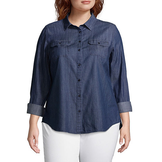 St. John's Bay Womens Long Sleeve Relaxed Fit Button-Front Shirt-Plus