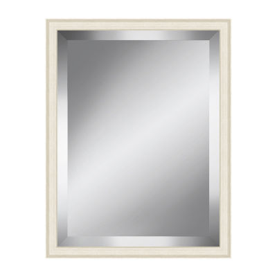 Off White Grain Effect Beveled Plate Mirror