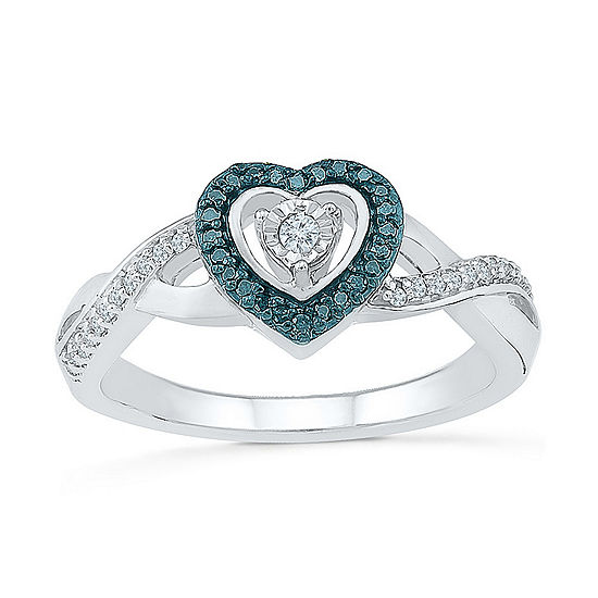 Promise My Love Womens 1/6 CT. T.W. Genuine Multi Color Diamond Sterling Silver Heart Promise Ring