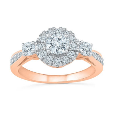 Promise My Love Womens 1 CT. T.W. Genuine White Diamond 10K Rose Gold Promise Ring