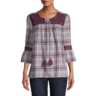 St. John's Bay 3/4 Bell  Sleeve Plaid Peasant Top